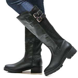 Shoes - New Black Elastic Panel Knee High Riding Boots